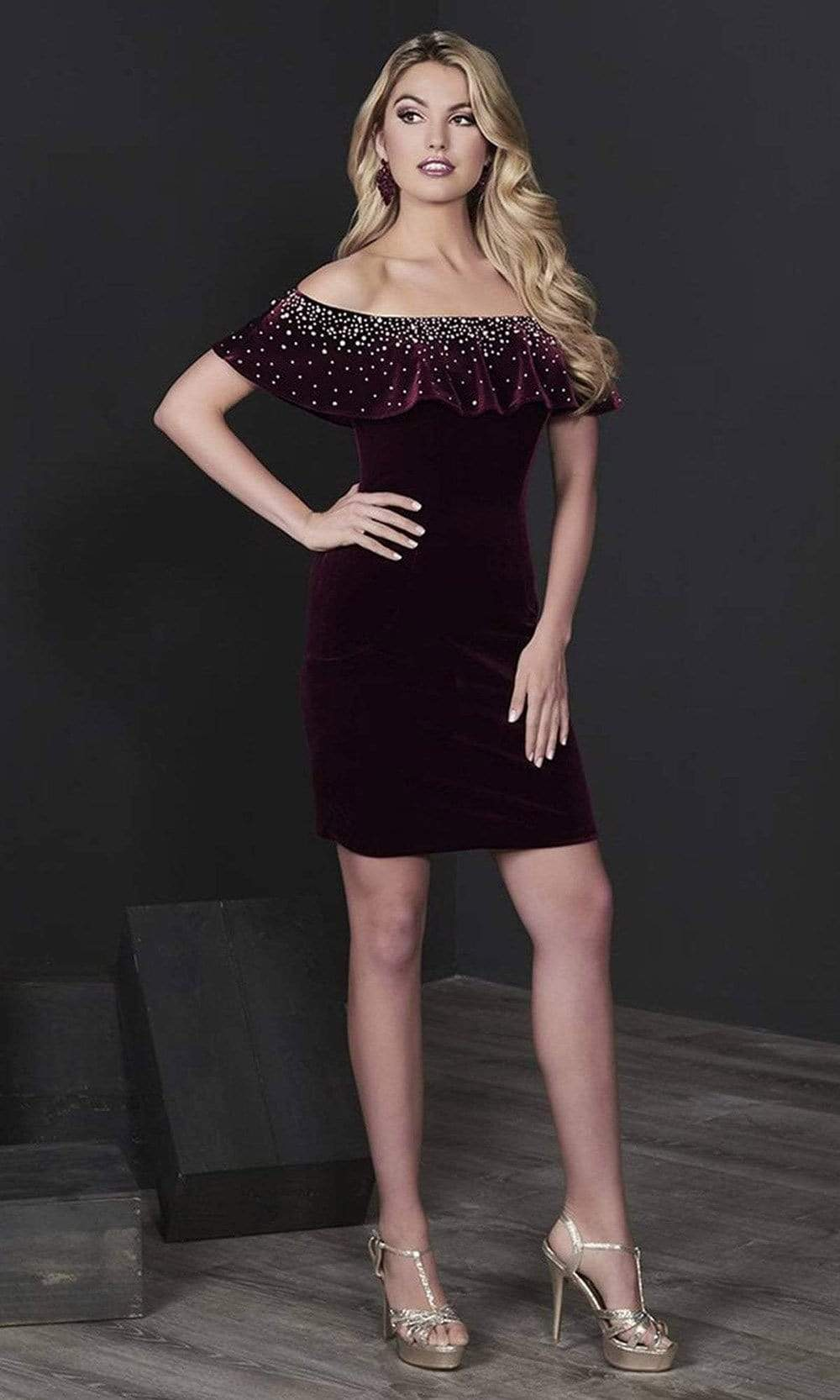 Tiffany Homecoming - 27231 Jewel Speckled Ruffled Off Shoulder Dress from Tiffany Homecoming