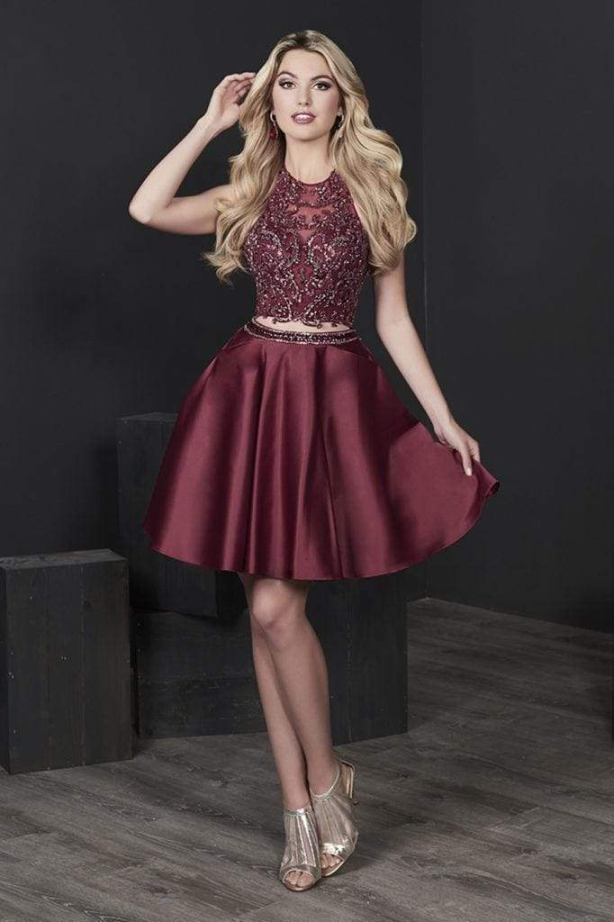Tiffany Homecoming - 27234 Two Piece Beaded Lace Satin A-line Dress from Tiffany Homecoming