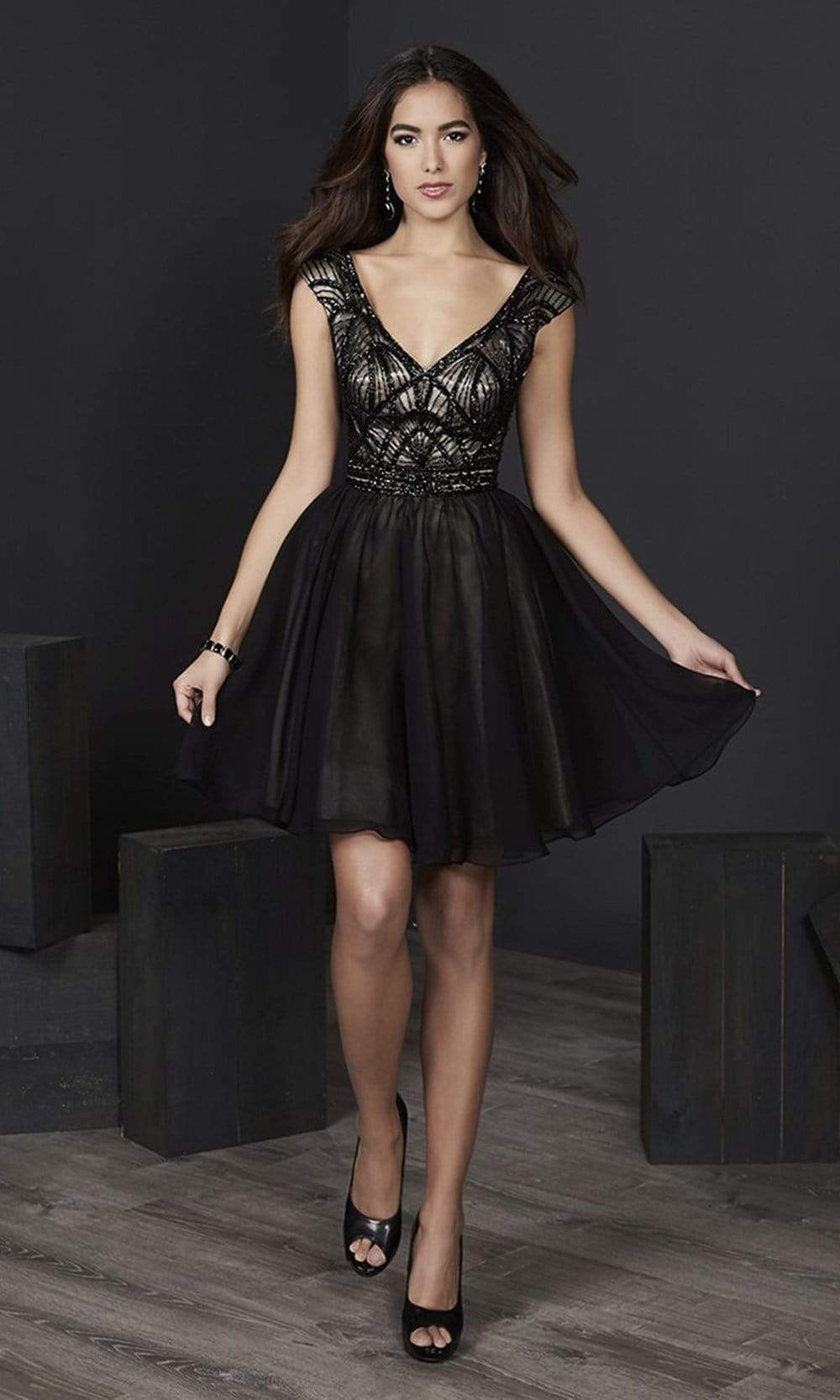 Tiffany Homecoming - 27240 Cap Sleeve Beaded Bodice Chiffon Dress from Tiffany Homecoming