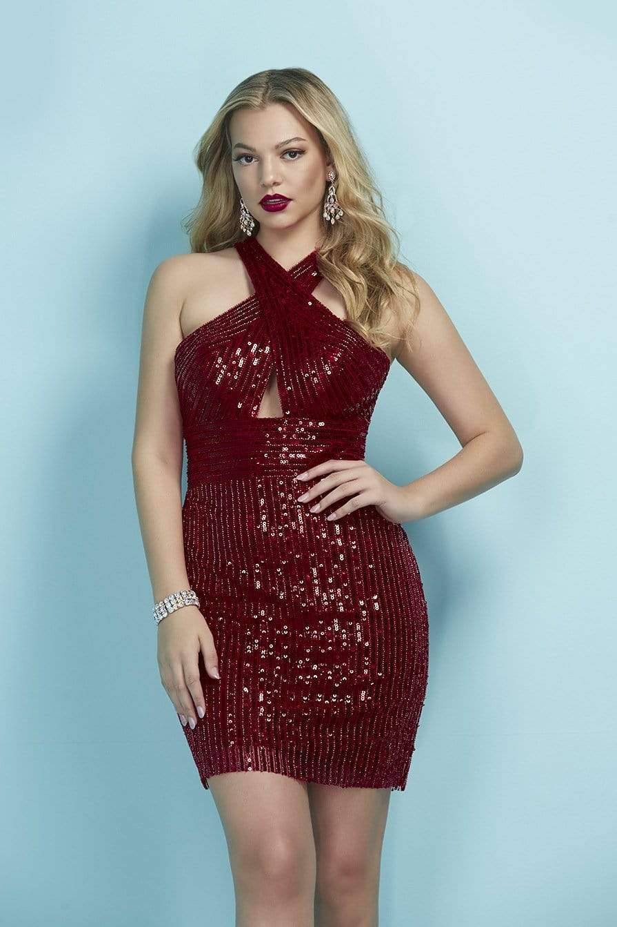 Tiffany Homecoming - 27256 Crisscross Neckline Sequin Cocktail Dress from Tiffany Homecoming