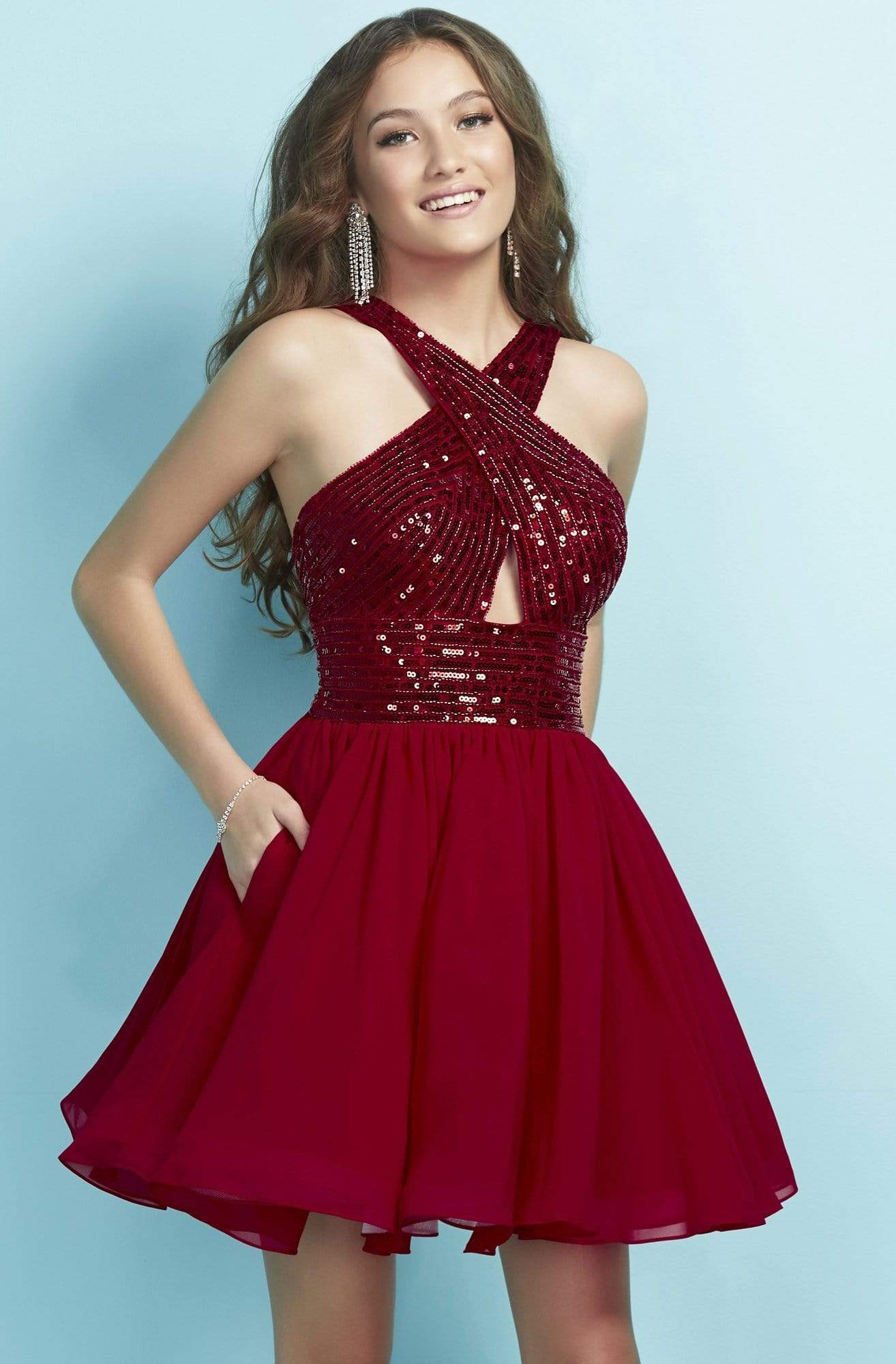 Tiffany Homecoming - 27261 Sequined Crisscross Bodice Cutout Dress from Tiffany Homecoming