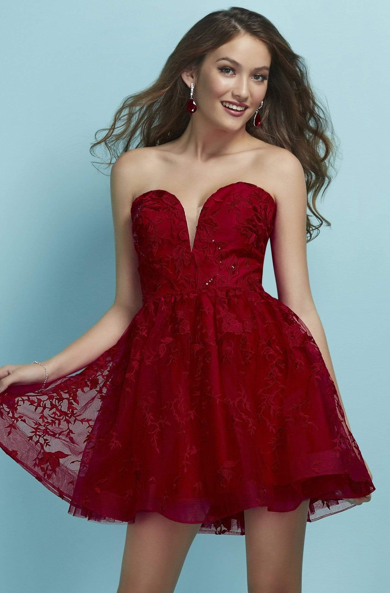 Tiffany Homecoming - 27271 Plunging Sweetheart Lace A-Line Dress from Tiffany Homecoming