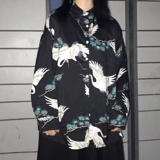 Crane Print Shirt As Shown In Figure - One Size from Tiny Times