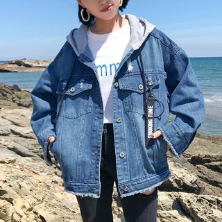 Hooded Ripped Denim Jacket from Tiny Times