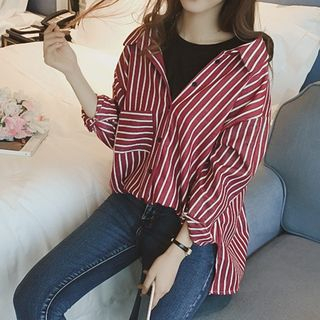 Mock Two-piece Pinstripe Long-Sleeve Blouse from Tiny Times