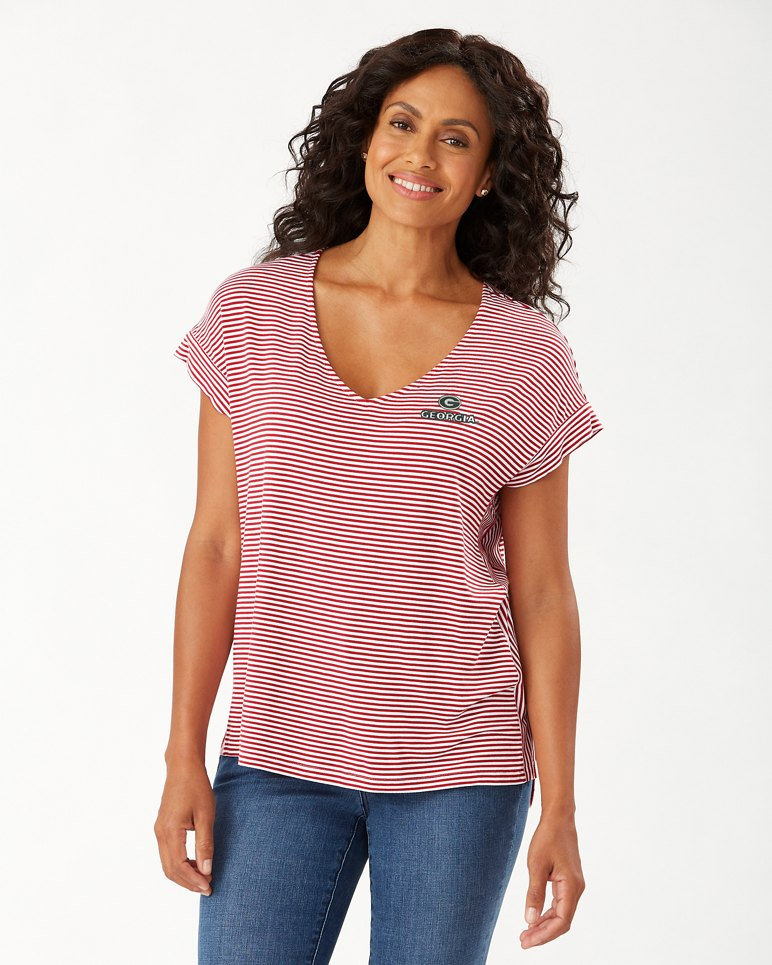 Collegiate Cassia Stripe Sealight V-Neck T-Shirt from Tommy Bahama