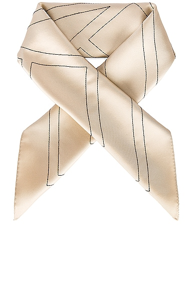 Toteme Embroidered Monogram Silk Scarf in Neutral from Toteme