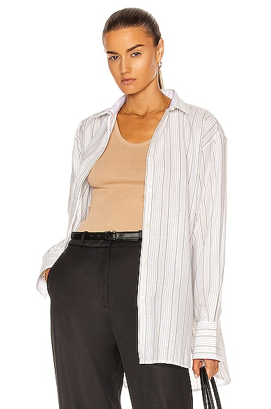 Toteme Silk Blend Shirt in Neutral from Toteme