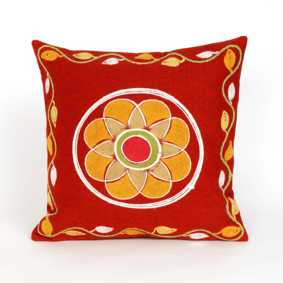 Trans-Ocean Imports 7SC2S417024 Visions Iii Collection Red Finish Pillow from Trans-Ocean