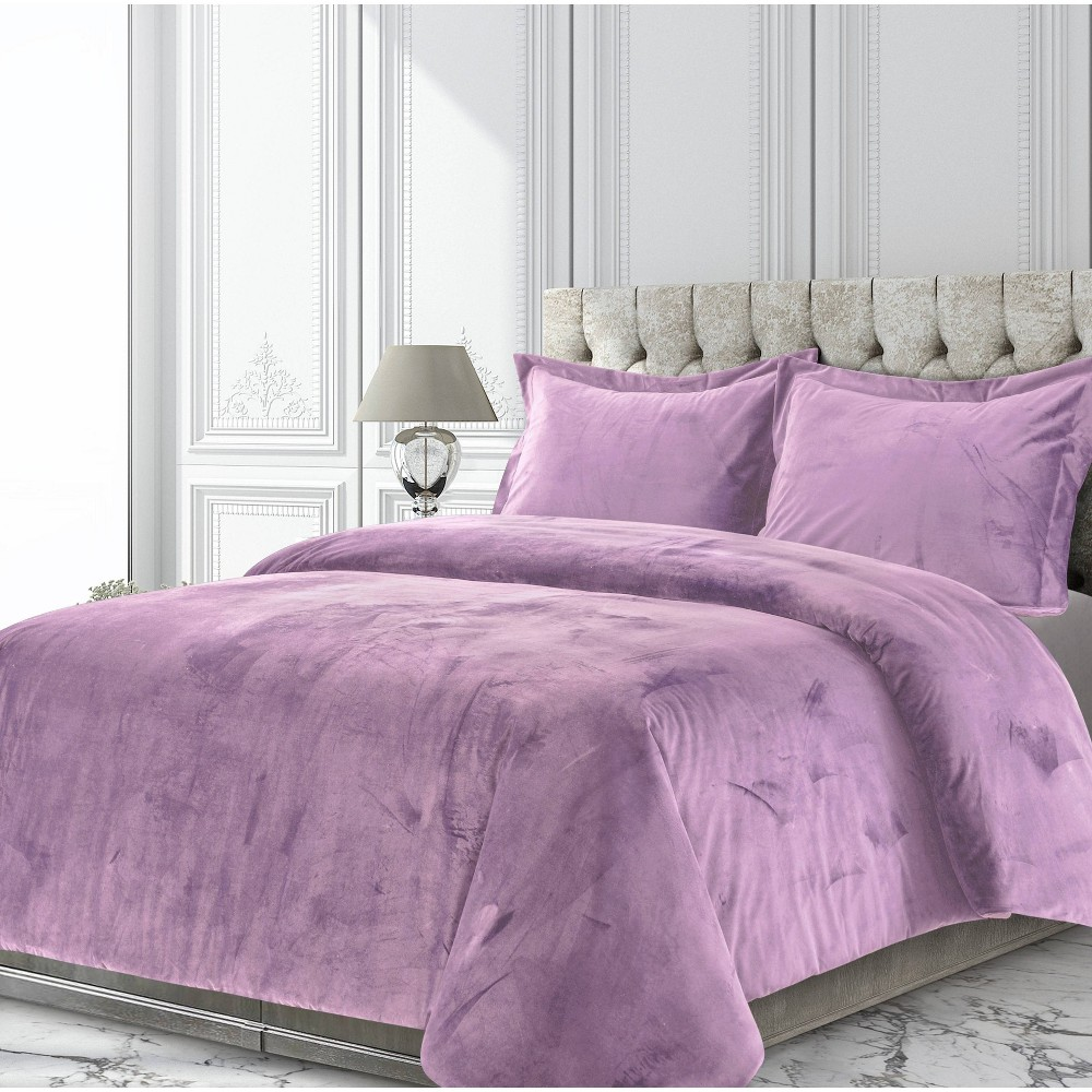 3pc Queen Venice Velvet Oversized Solid Duet Set Lilac - Tribeca Living from Tribeca Living