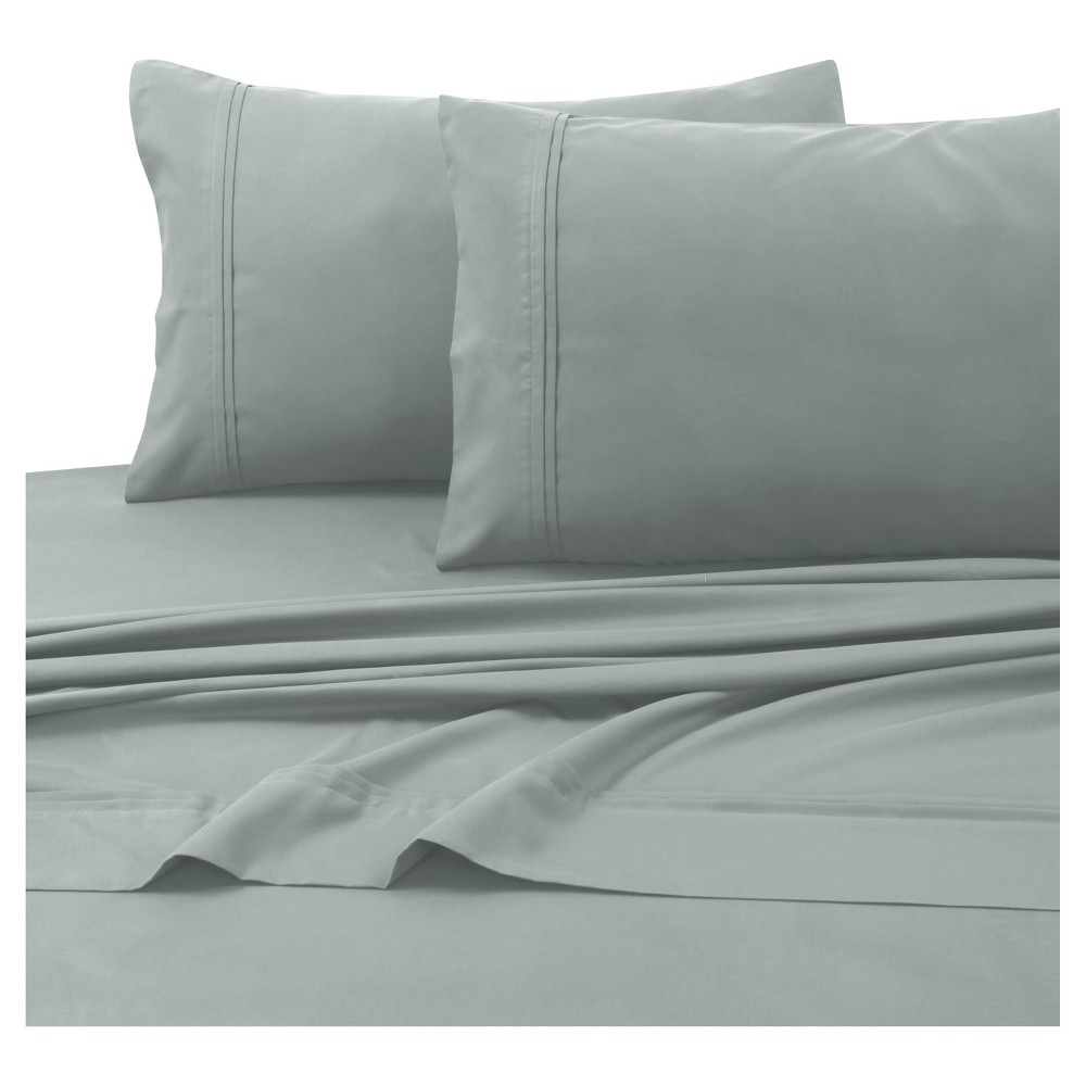 Microfiber Solid Deep Pocket Sheet Set (Twin) Silver Gray 110 GSM - Tribeca Living from Tribeca Living