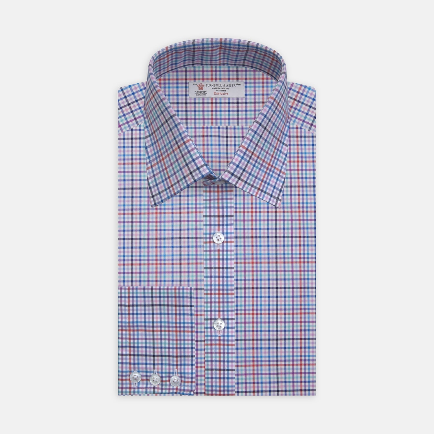 Blue, Pink and Red Graph Check Shirt with T&A Collar and 3-Button Cuffs - 17.0 from Turnbull & Asser