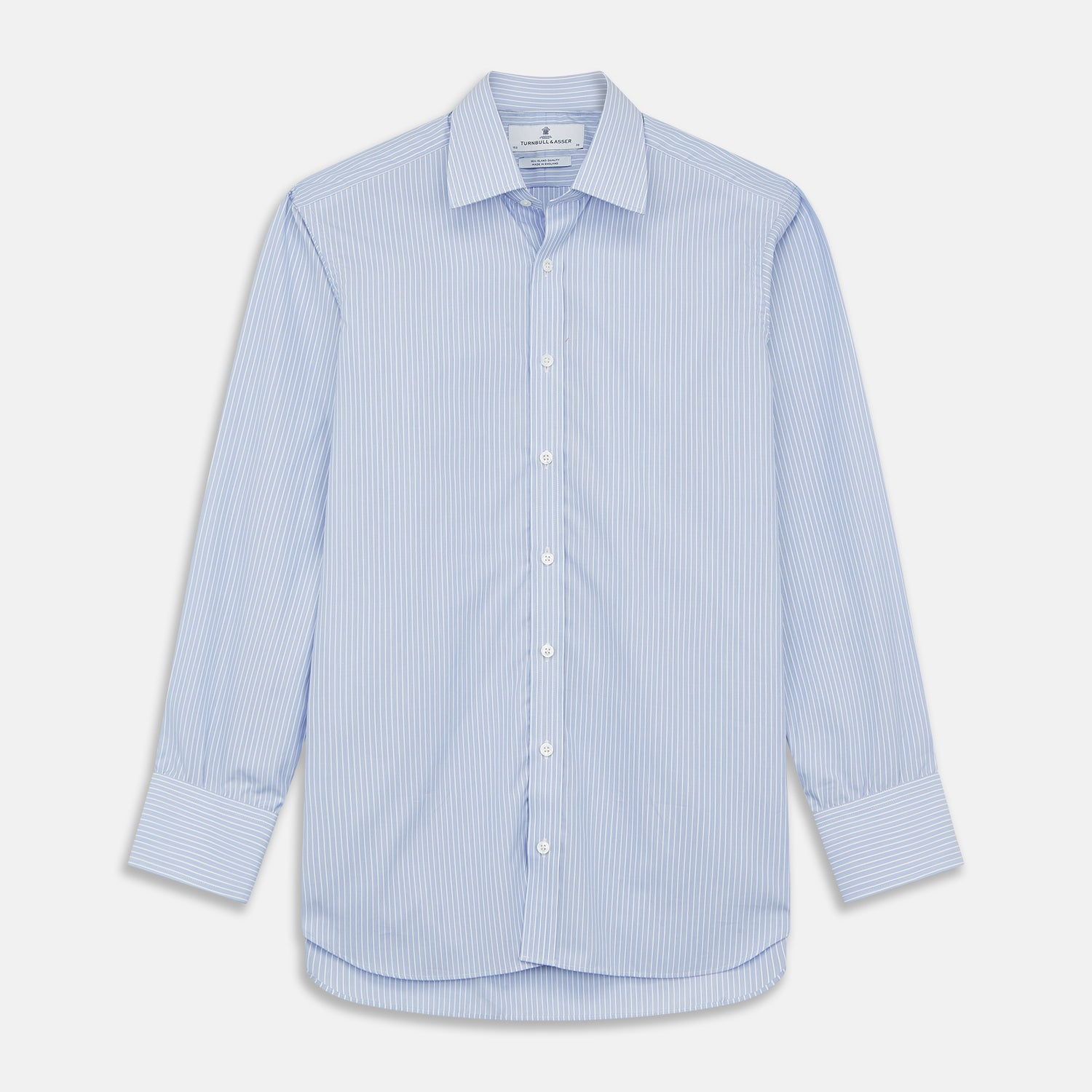 Blue And White Stripe Sea Island Quality Cotton Shirt With T&A Collar and 3-Button Cuffs - 16.0 from Turnbull & Asser