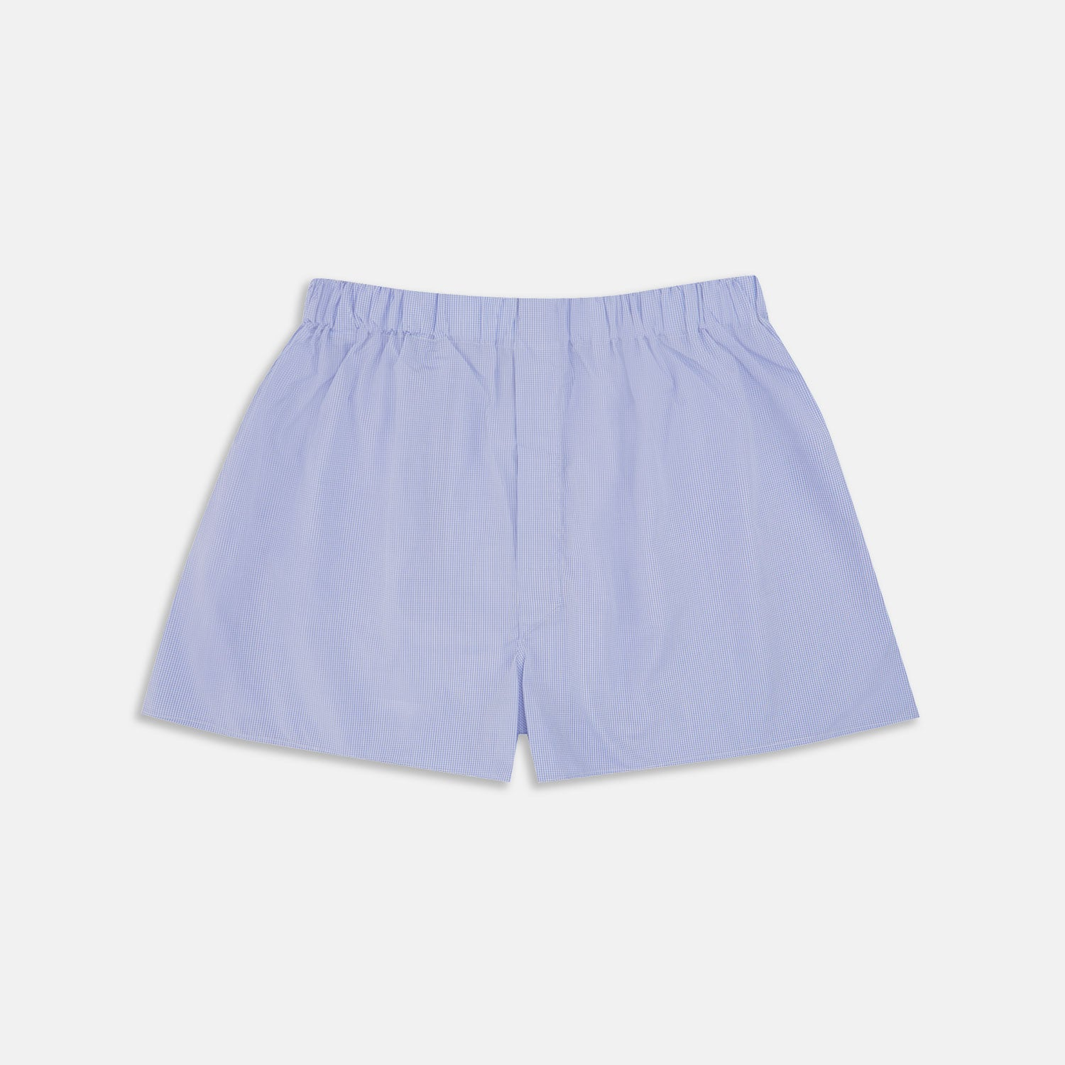 Blue Fine Check Cotton Sea Island Quality Boxer Shorts - M from Turnbull & Asser