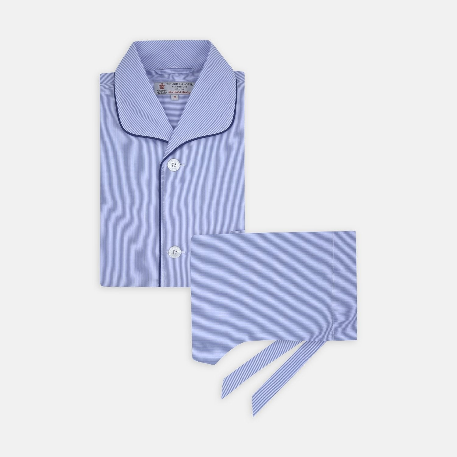 Blue Fine Stripe Piped Sea Island Quality Cotton Pyjama Set - M from Turnbull & Asser