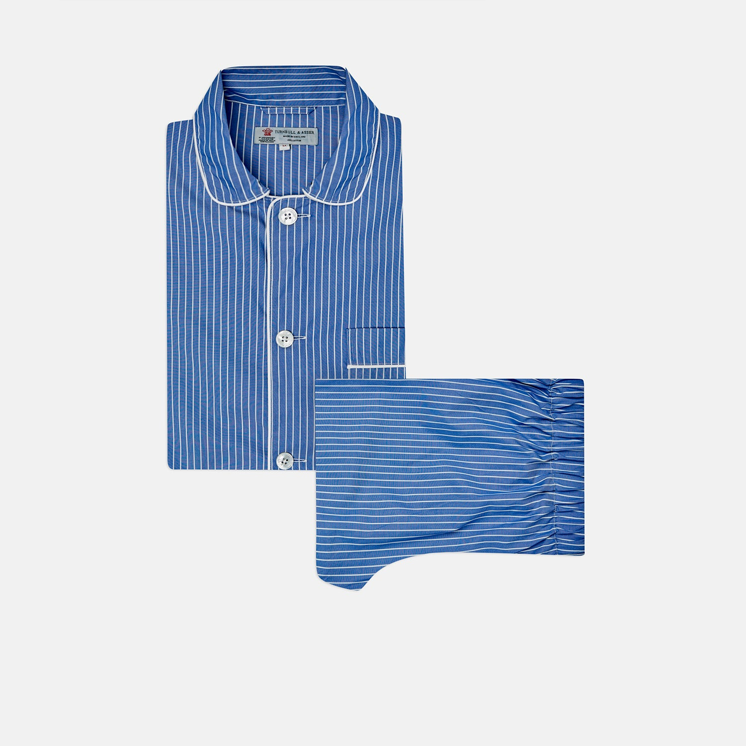 Blue Stripe Cotton Modern Pyjama Set - S from Turnbull & Asser