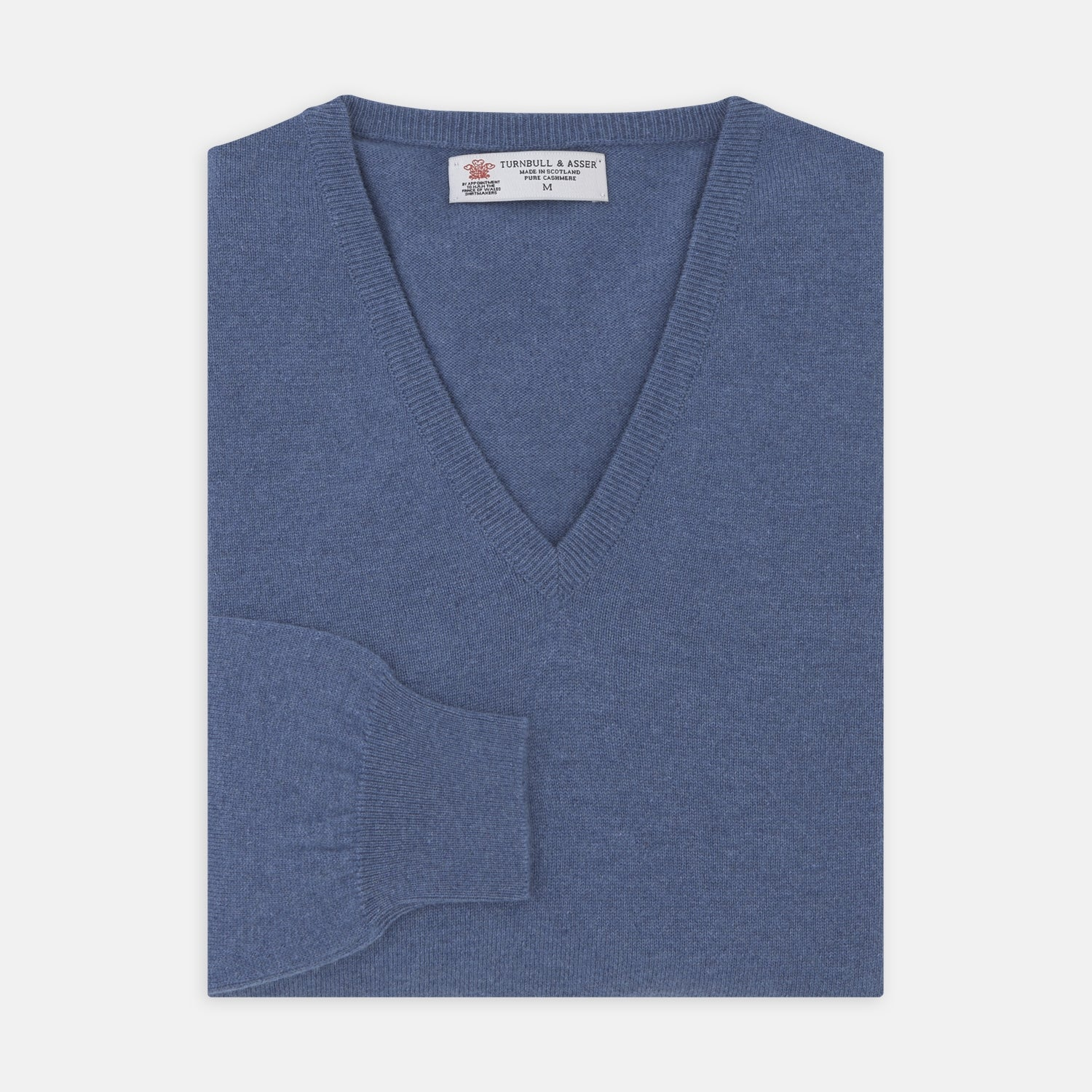 Blue V-Neck Cashmere Jumper - XXL from Turnbull & Asser