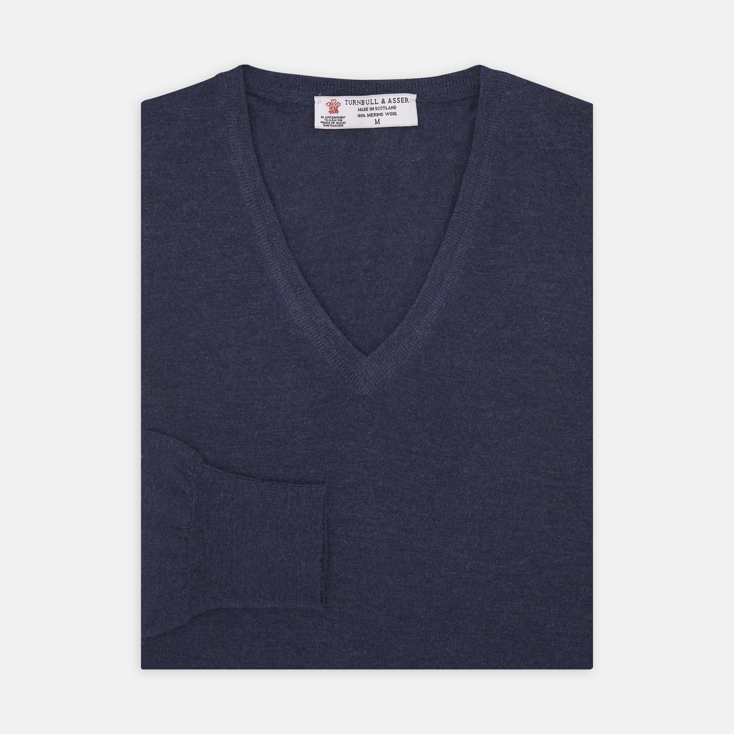 Blue V-Neck Merino Wool Jumper - S from Turnbull & Asser