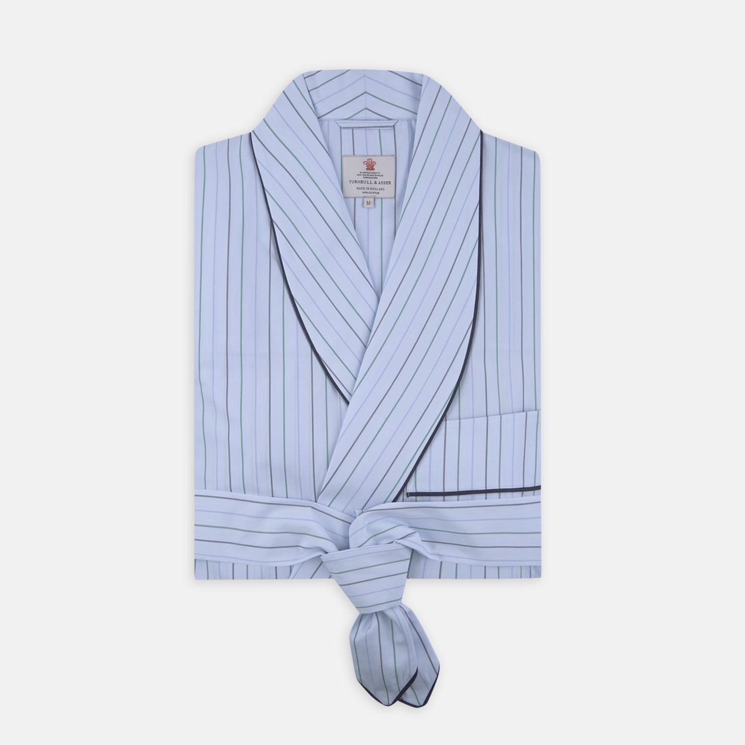 Blue and Green Pencil Stripe Cotton Gown - XL from Turnbull & Asser