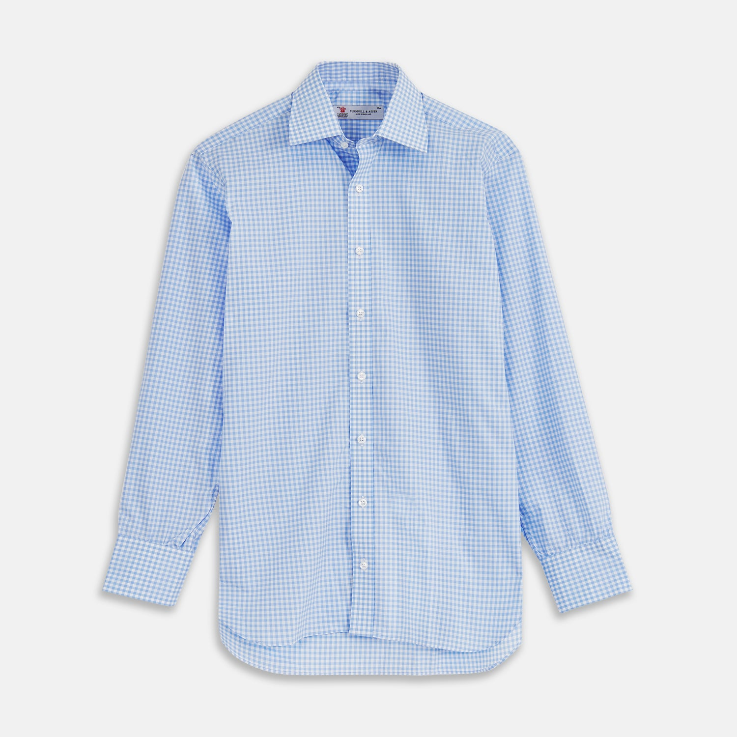 Blue & White Cotton Gingham Check Shirt with T&A Collar and 3-Button Cuffs - 18.5 from Turnbull & Asser