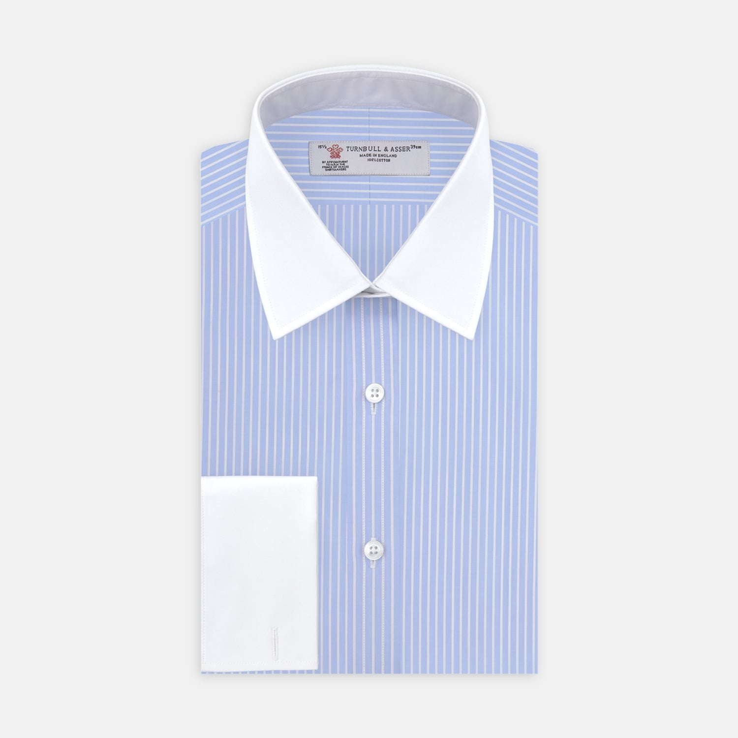 Blue and White Stripe Shirt with Contrast T&A Collar and Double Cuffs - 17.0 from Turnbull & Asser