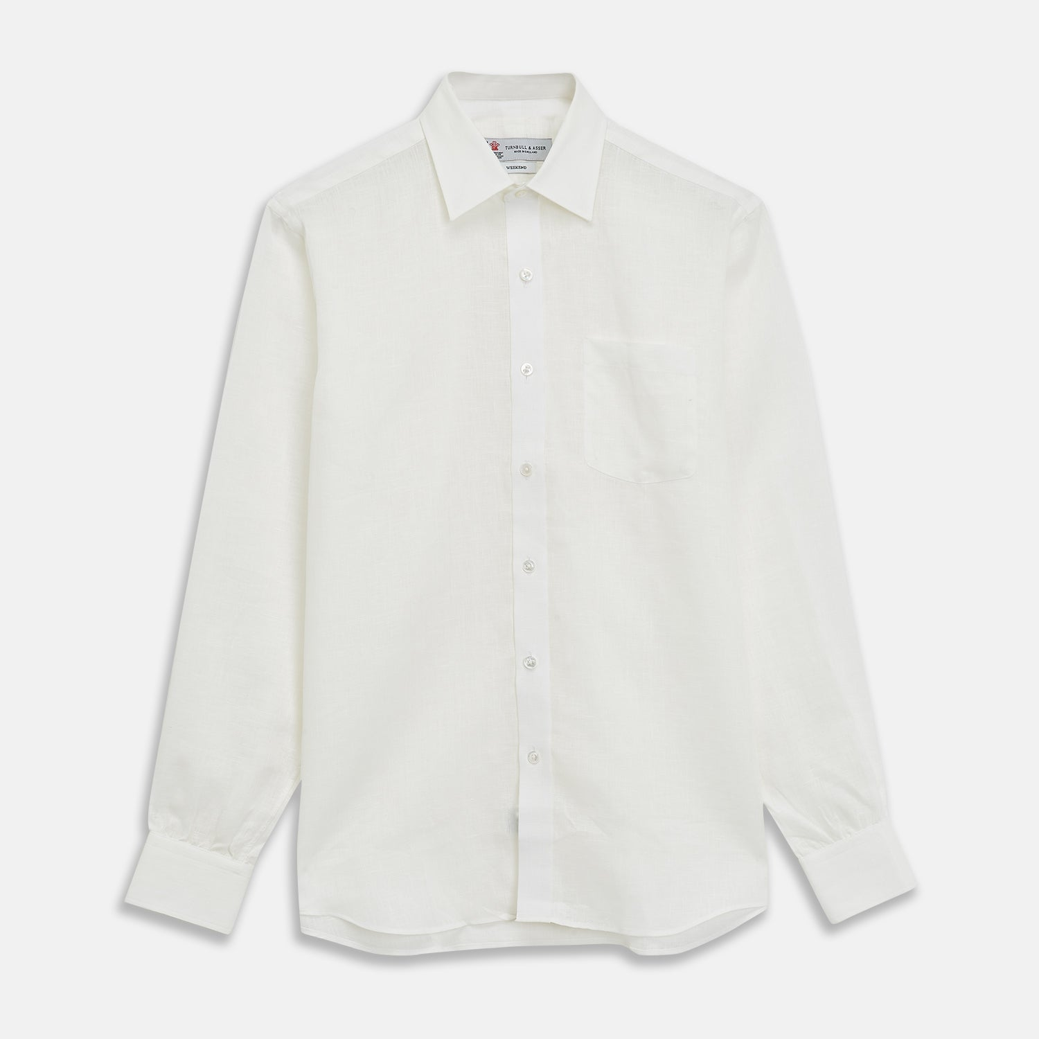 Cream Linen Weekend Fit Shirt with Derby Collar and 1-Button Cuffs - M from Turnbull & Asser