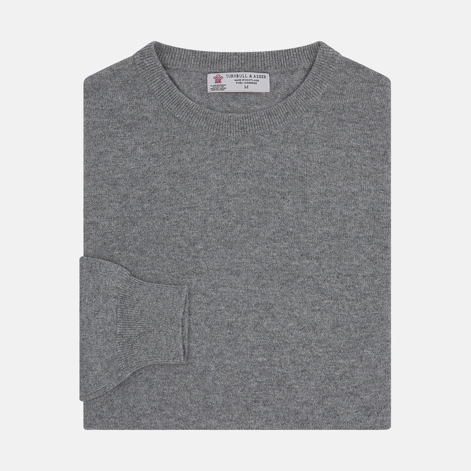 Flannel Grey Cashmere Jumper - M from Turnbull & Asser