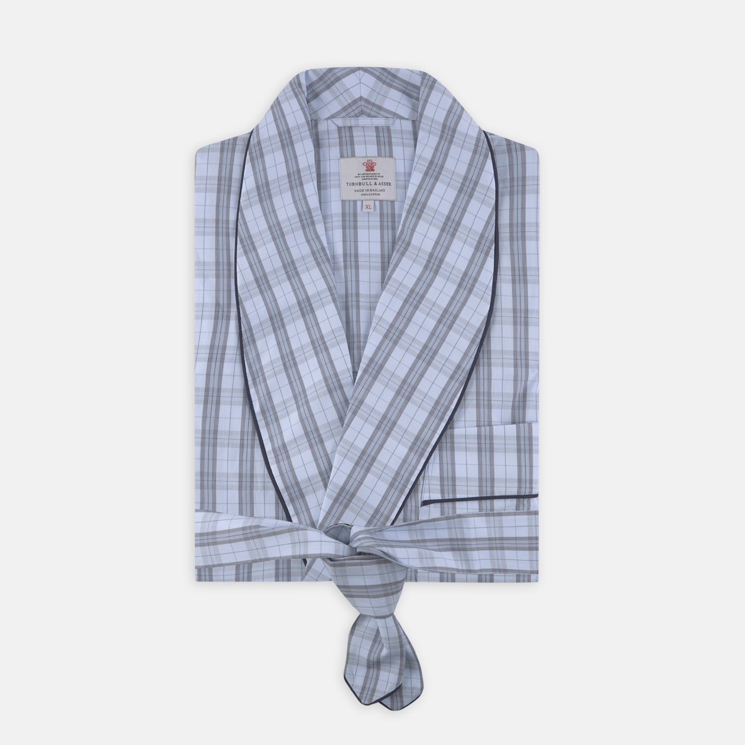 Grey, Turquoise and Sky Blue Mixed Check Cotton Gown - XL from Turnbull & Asser