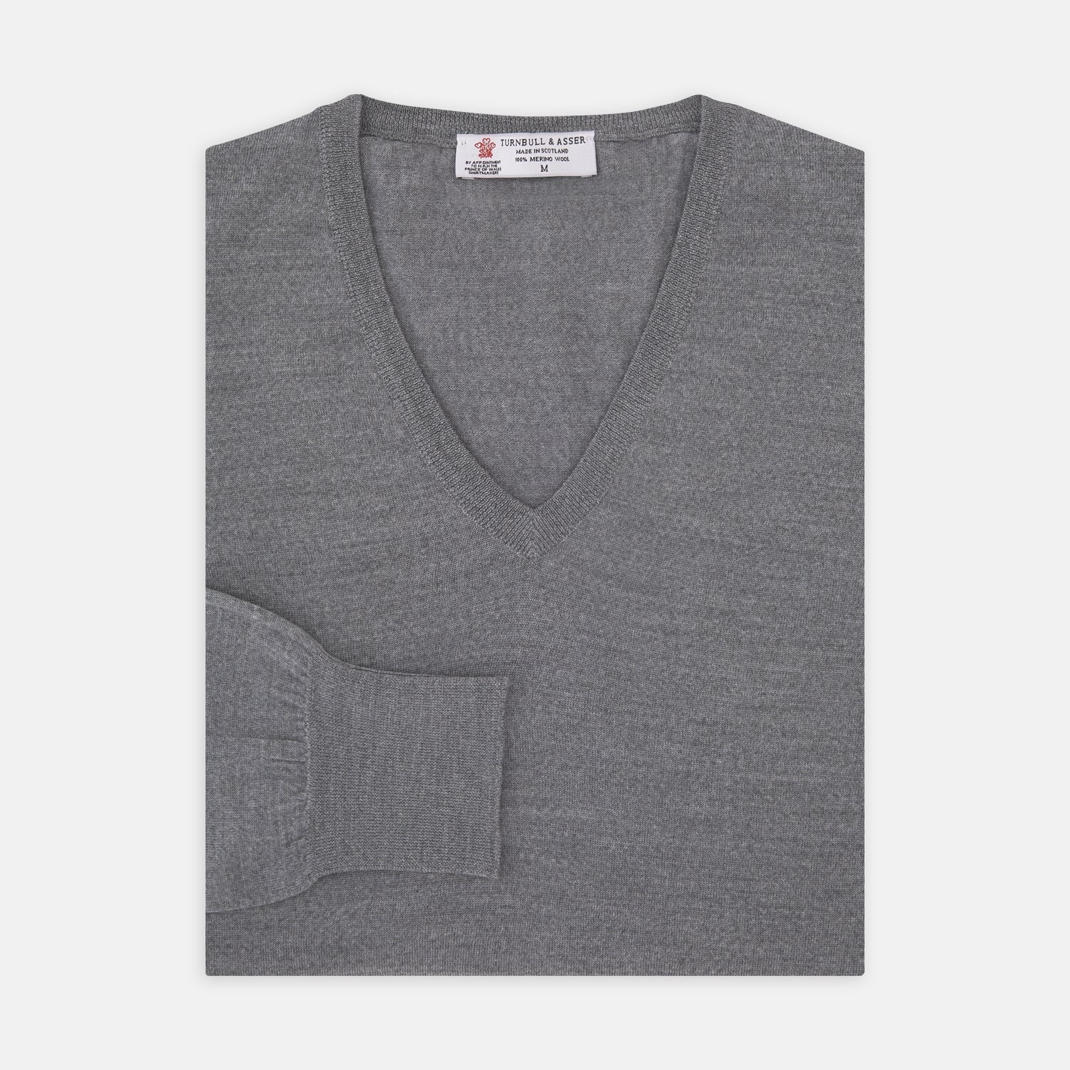 Grey V-Neck Merino Wool Jumper - XXL from Turnbull & Asser