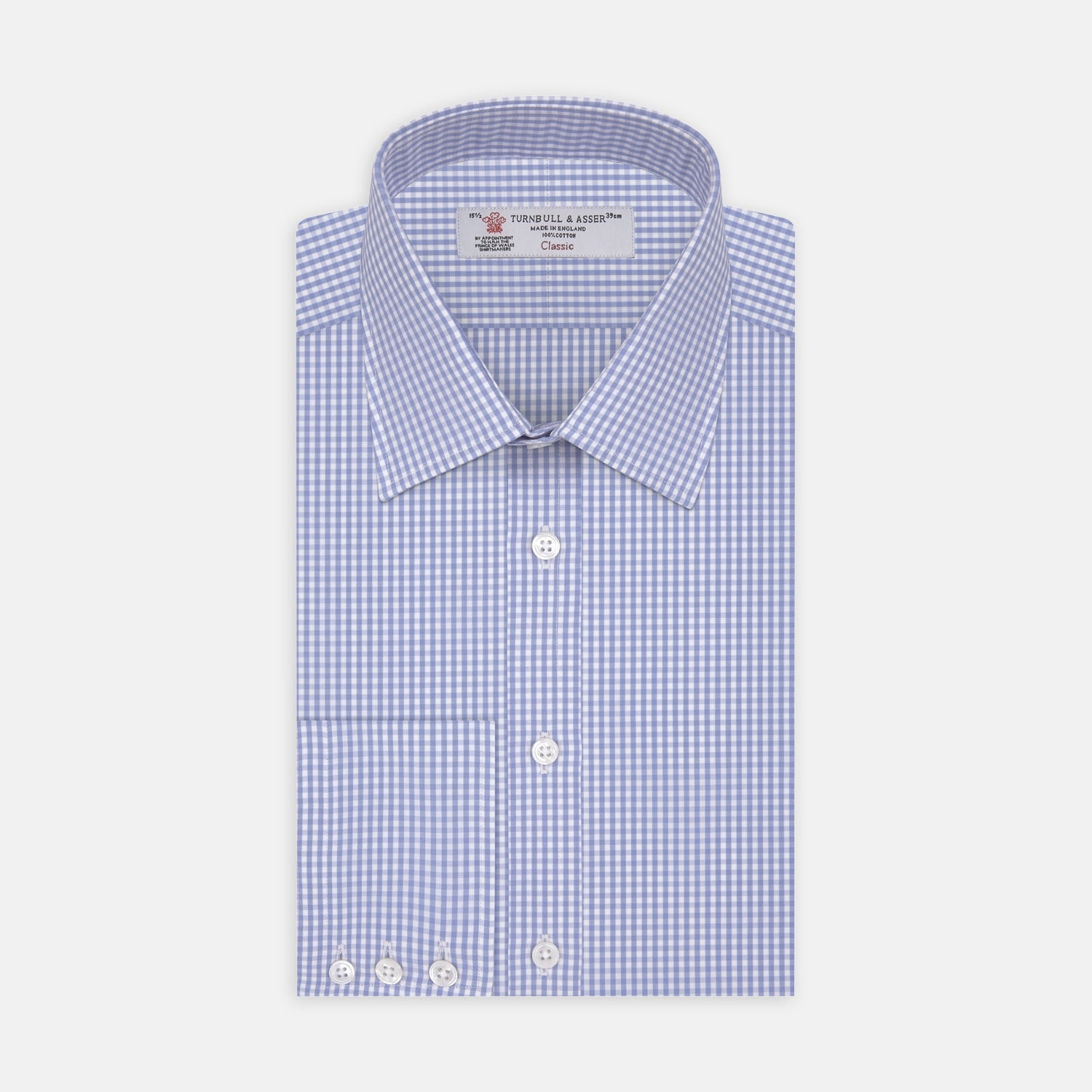 Light Blue Gingham Check Shirt with T&A Collar and 3-Button Cuffs - 14.5 from Turnbull & Asser