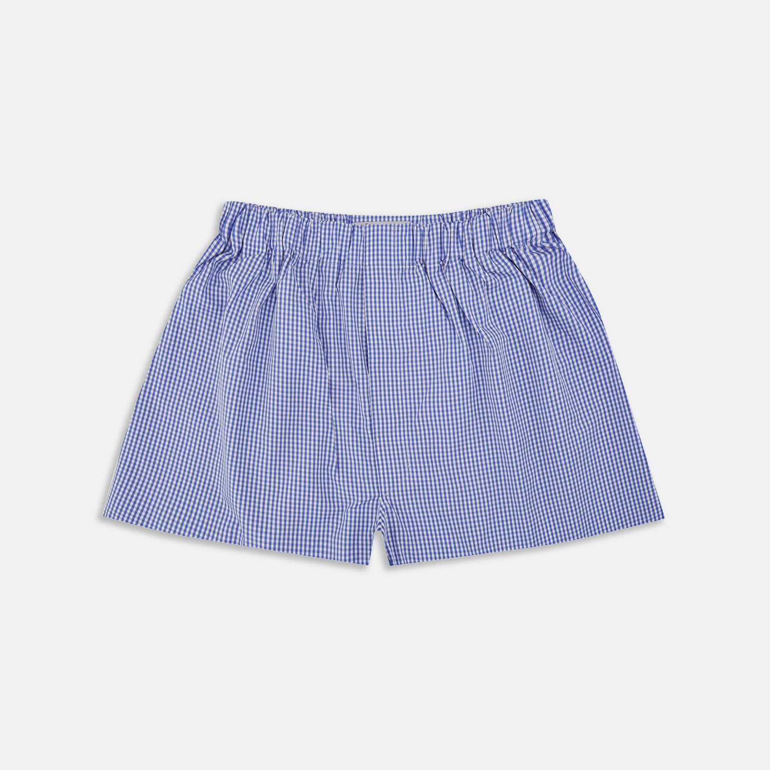 Mid-Blue Gingham Cotton Boxer Shorts - M from Turnbull & Asser