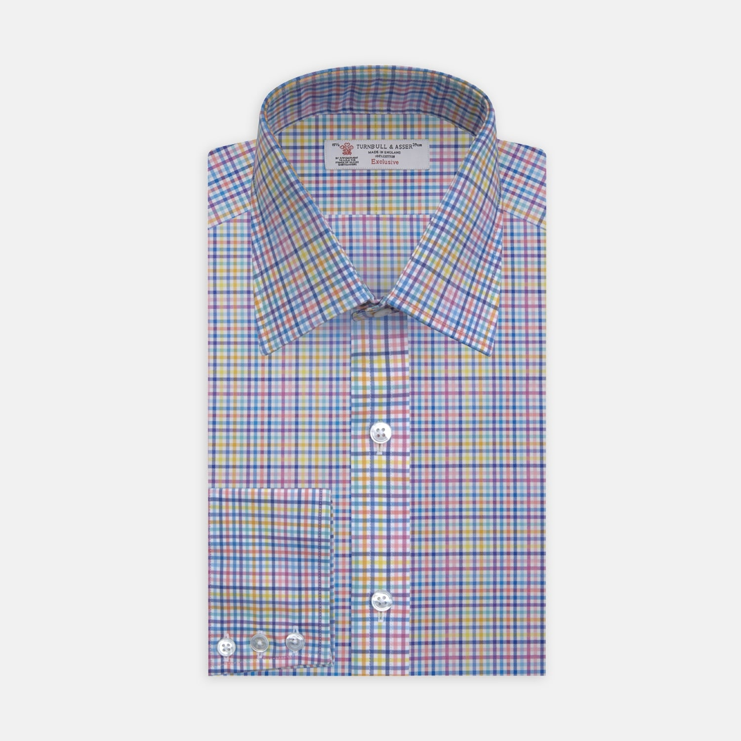 Multicoloured Graph Check Shirt with T&A Collar and 3-Button Cuffs - 15.0 from Turnbull & Asser
