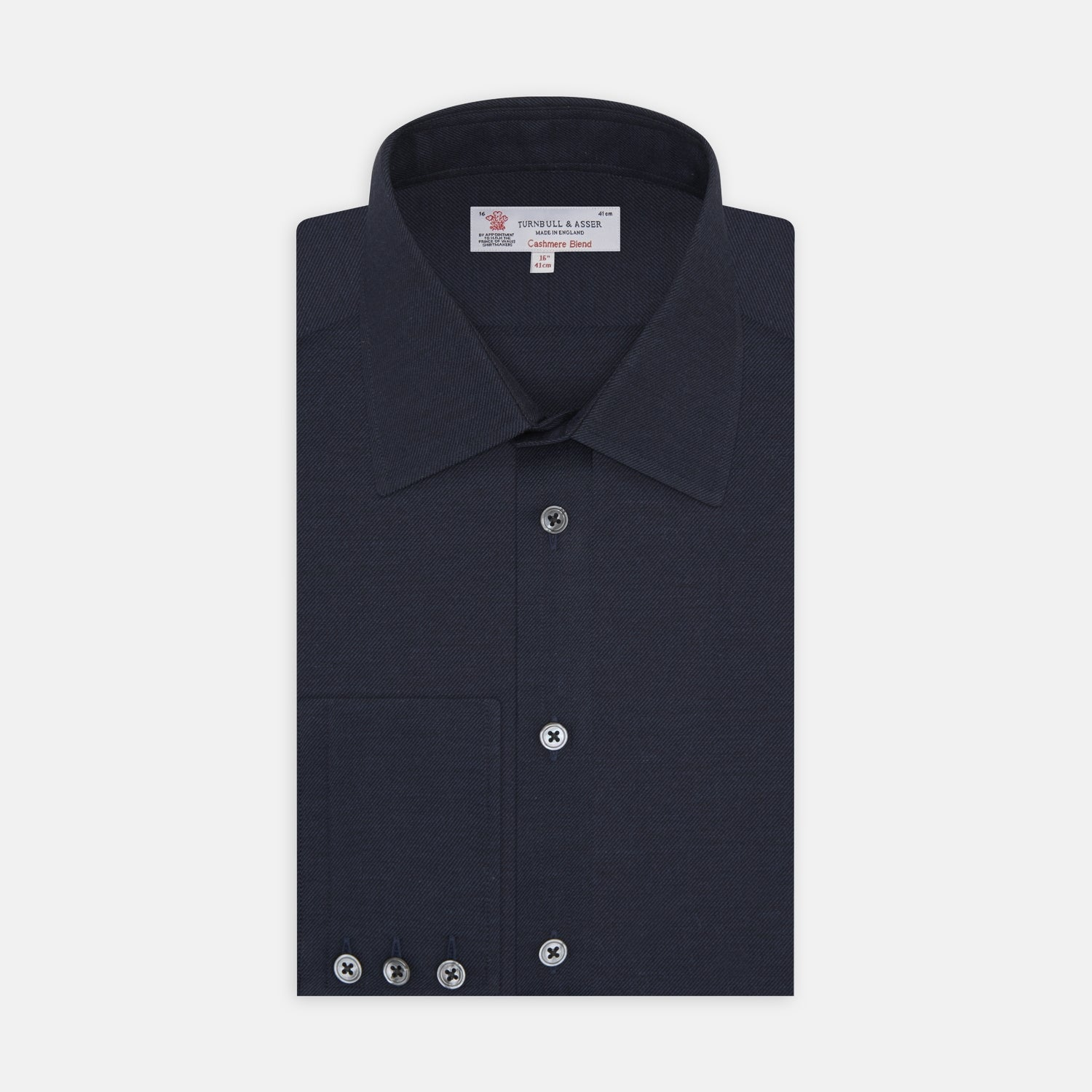 Navy Cashmere Blend Shirt with T&A Collar and 3-Button Cuffs - 14.5 from Turnbull & Asser