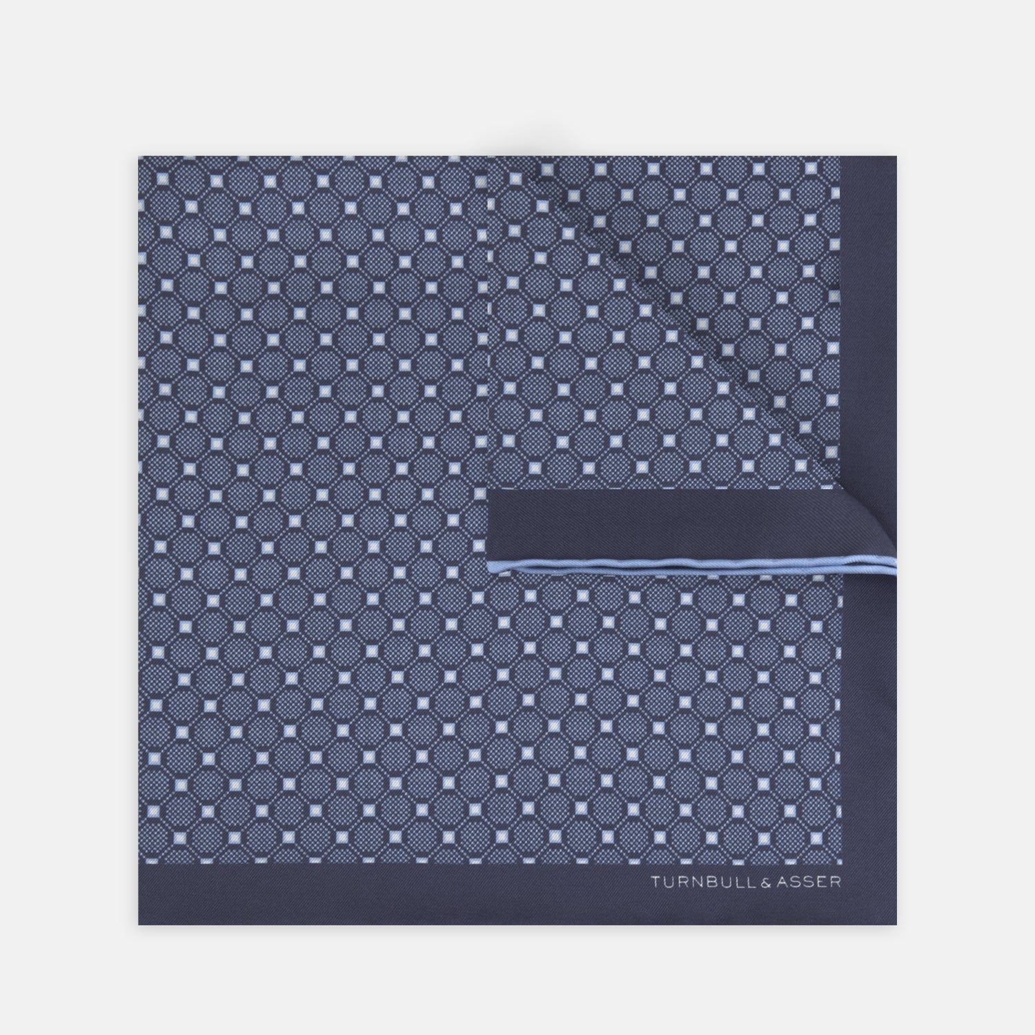 Navy and Sky Blue Checkerboard Silk Pocket Square - OS from Turnbull & Asser