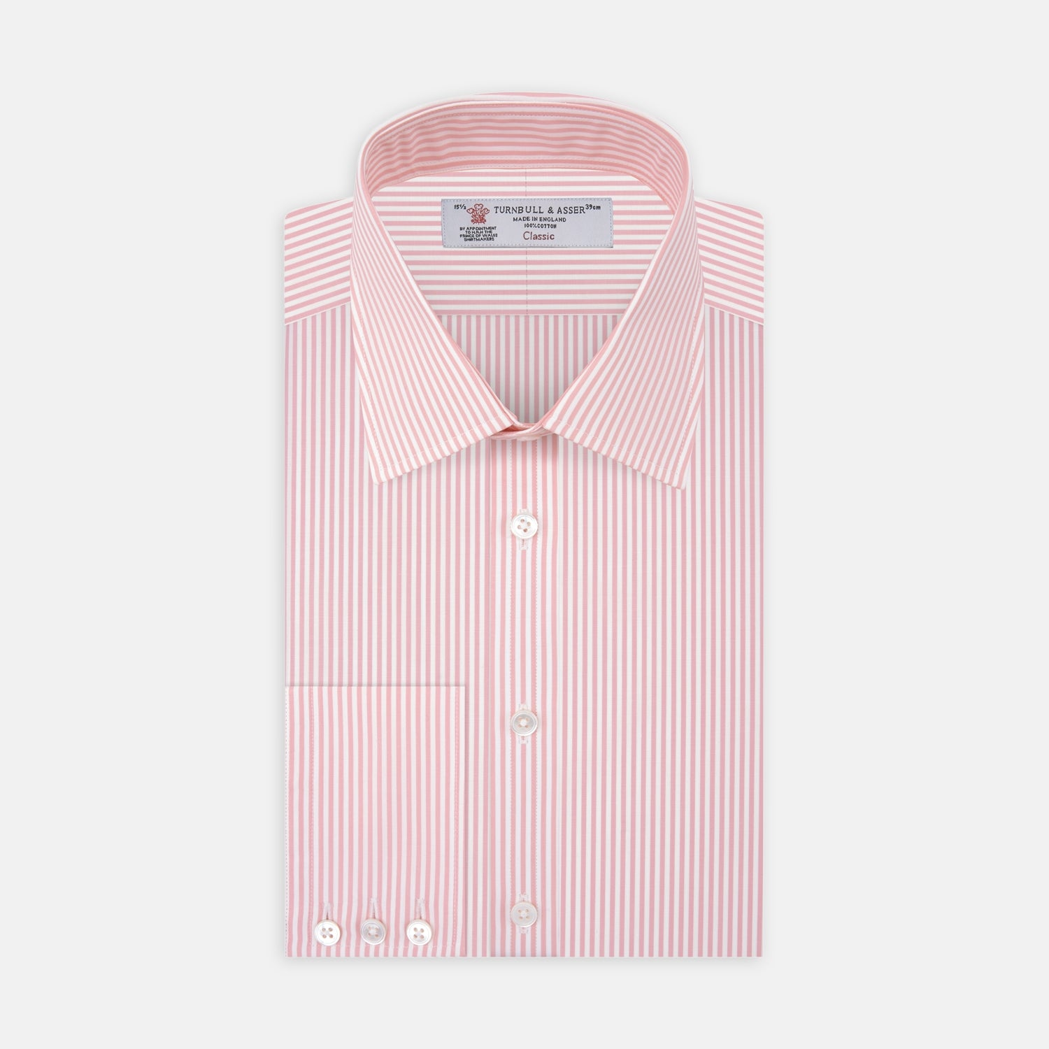 Pink Bengal Stripe Shirt with T&A Collar and 3-Button Cuffs - 19.0 from Turnbull & Asser
