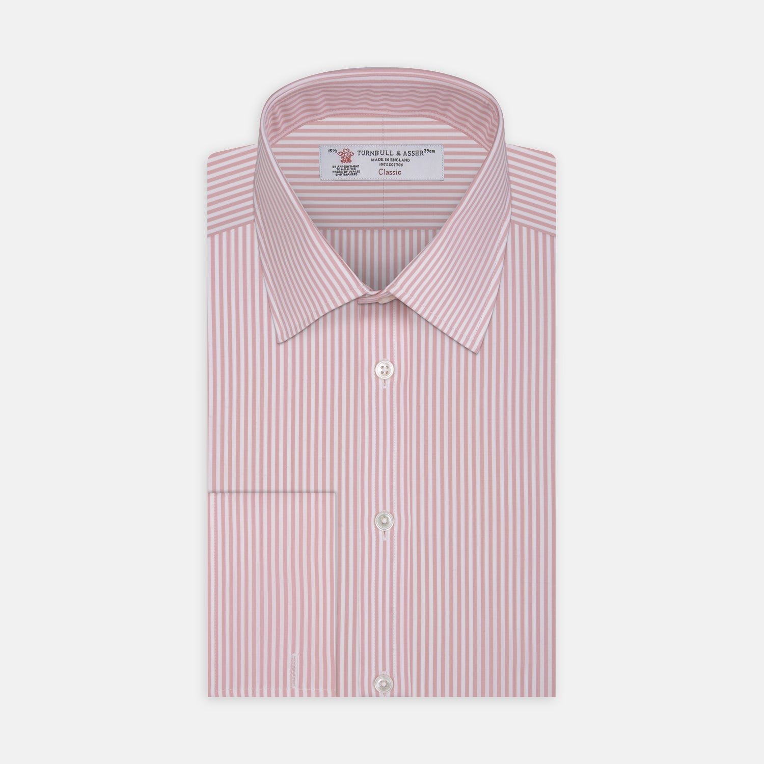 Pink Bengal Stripe Shirt with T&A Collar and Double Cuffs - 15.75 from Turnbull & Asser