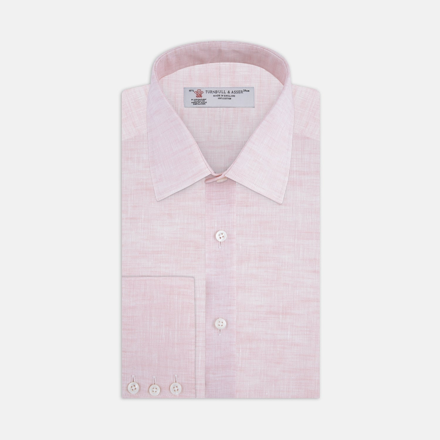 Pink Linen Shirt with T&A Collar and 3-Button Cuffs - 17.5 from Turnbull & Asser