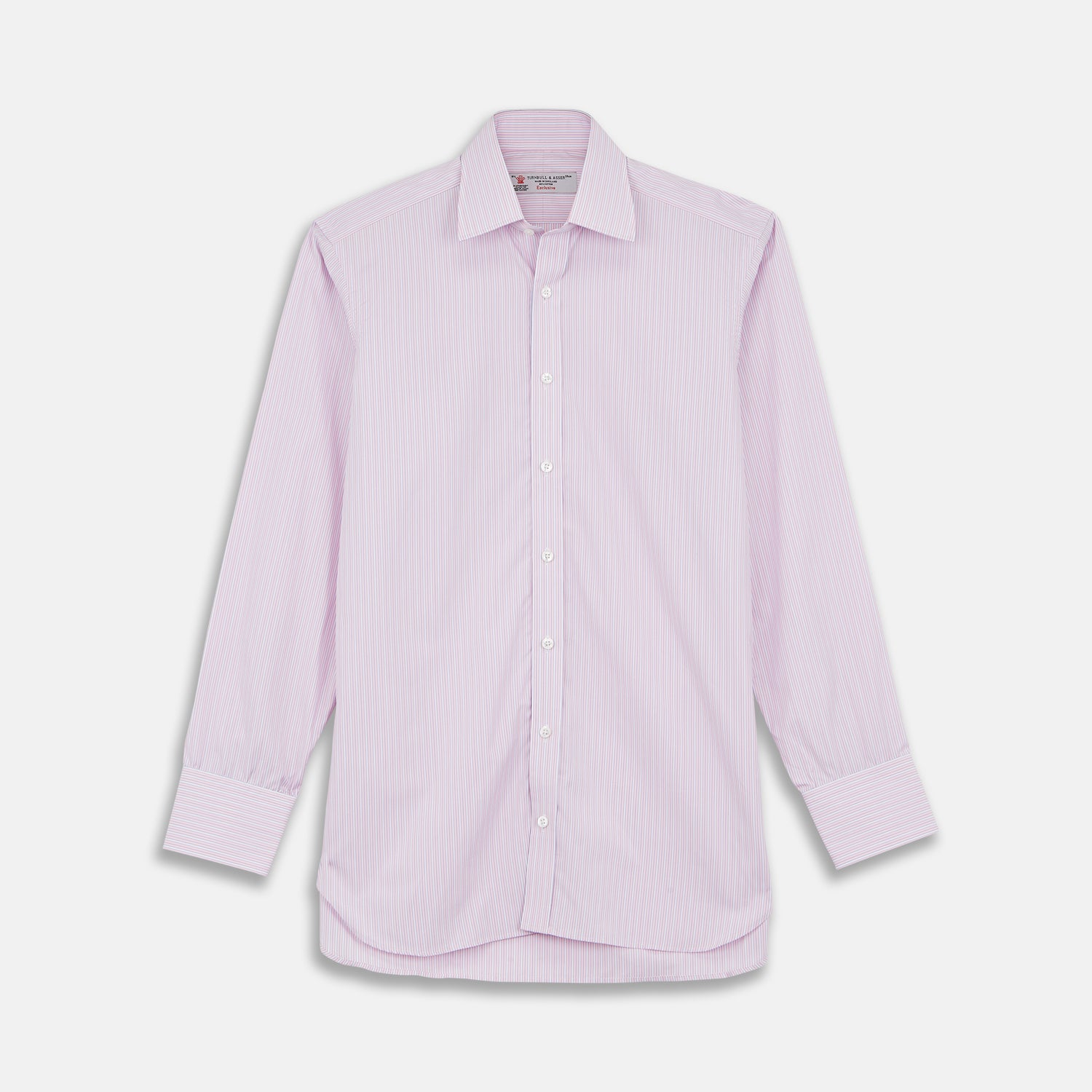 Pink Rich Stripe Shirt with T&A Collar and 3-Button Cuffs - 17.75 from Turnbull & Asser