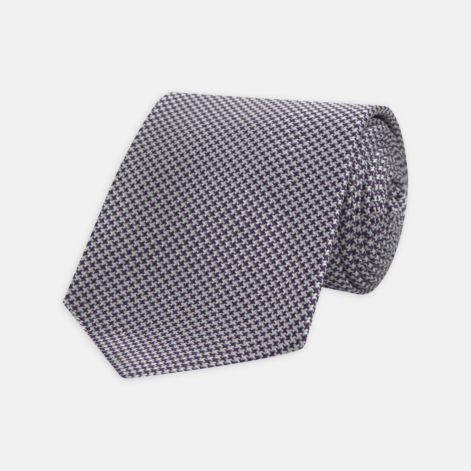 Plum Houndstooth Silk Tie - OS from Turnbull & Asser