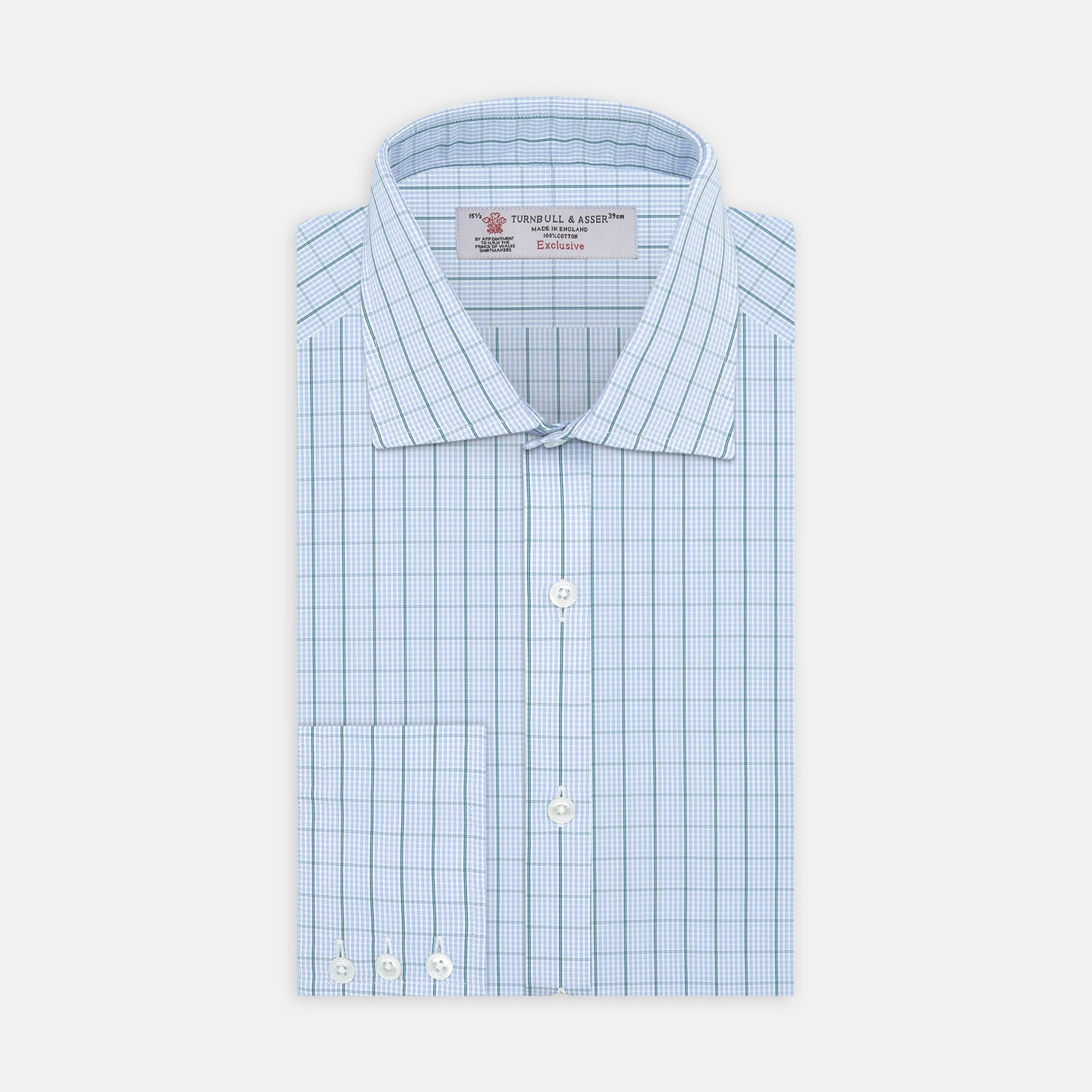 Sky Blue and Turquoise Pin Check Shirt with Regent Collar and 3-Button Cuffs - 15.0 from Turnbull & Asser