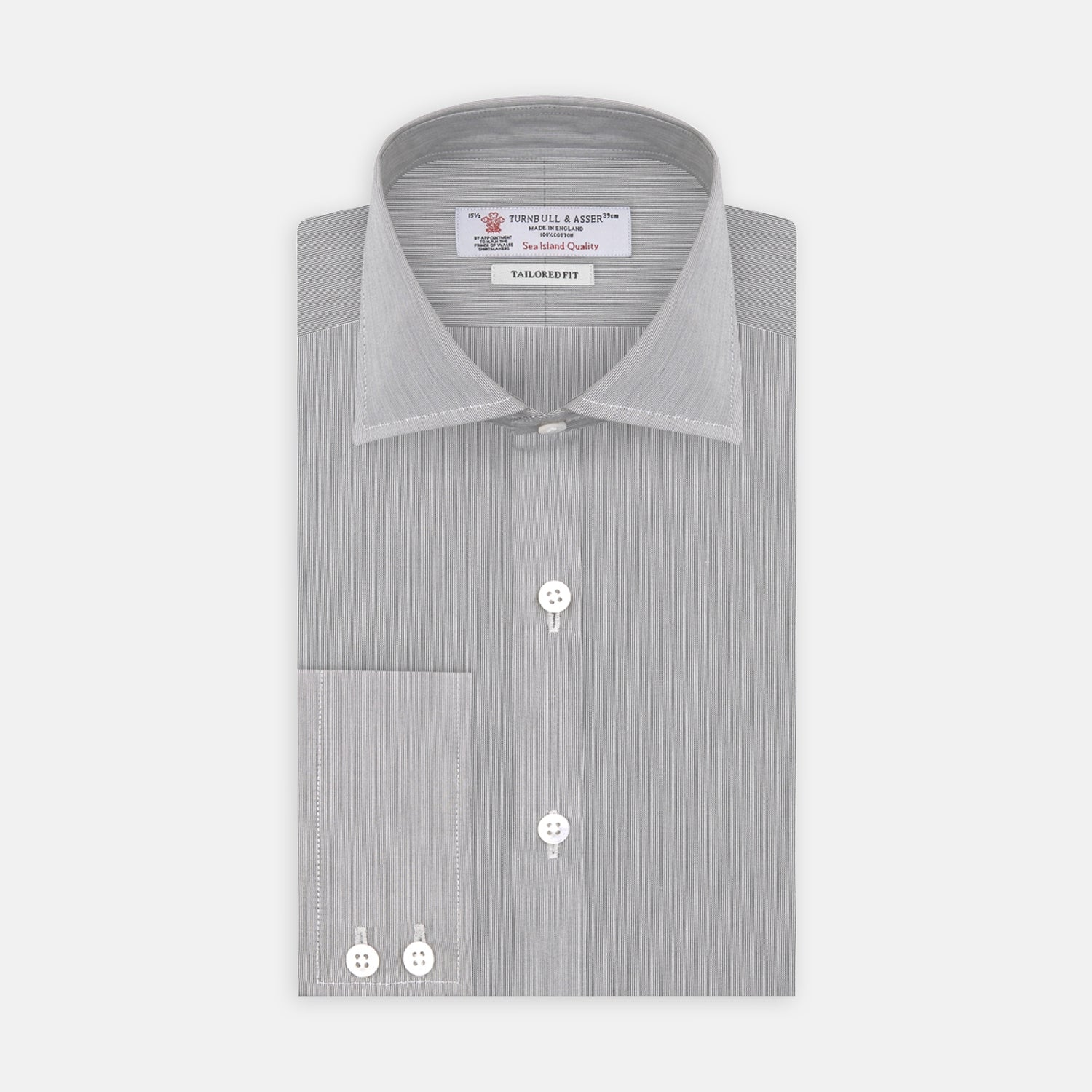 Tailored Fit Grey End-On-End Shirt with Kent Collar and 2-Button Cuffs - 18.0 from Turnbull & Asser