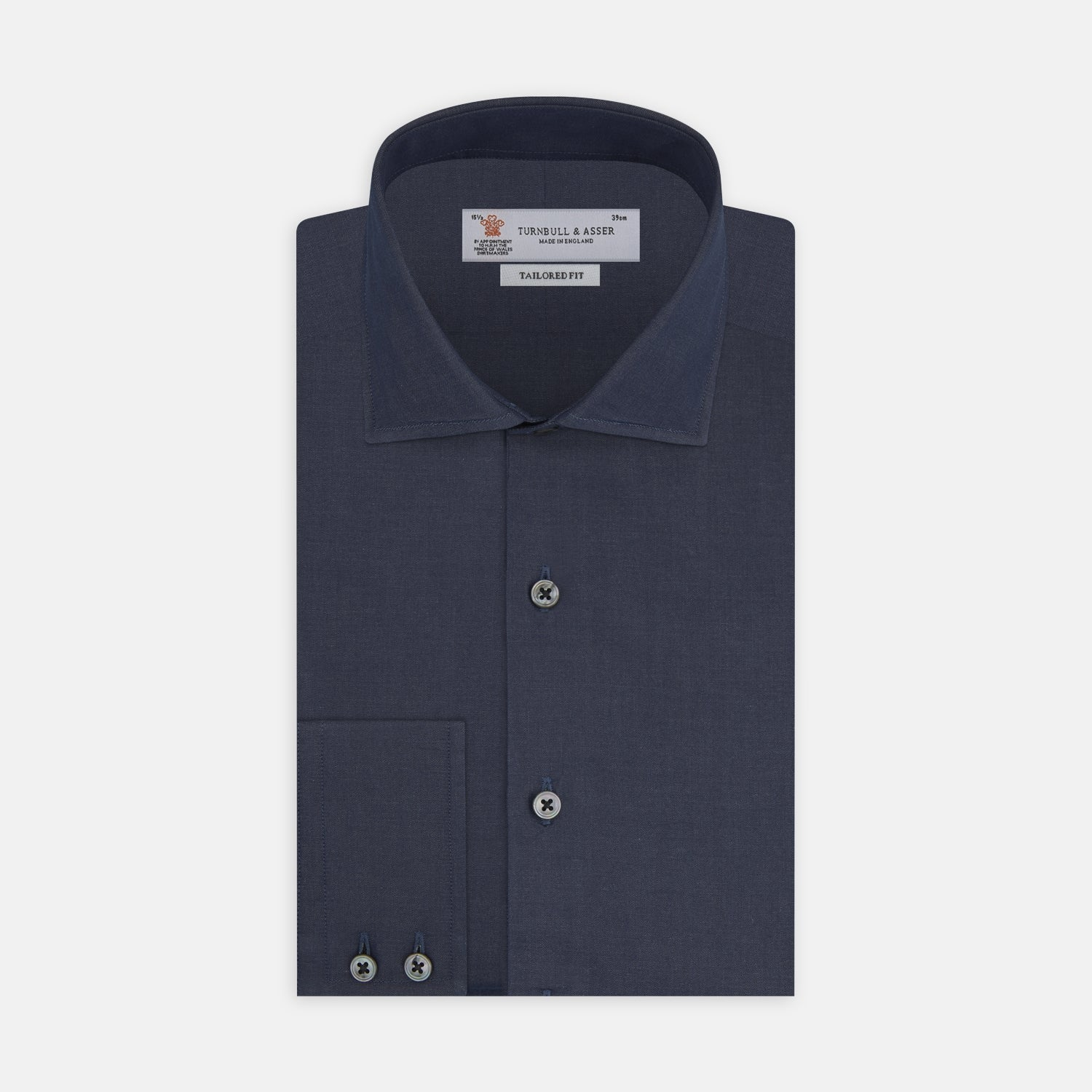 Tailored Fit Navy Cashmere Blend Shirt with Kent Collar and 2-Button Cuffs - 16.0 from Turnbull & Asser