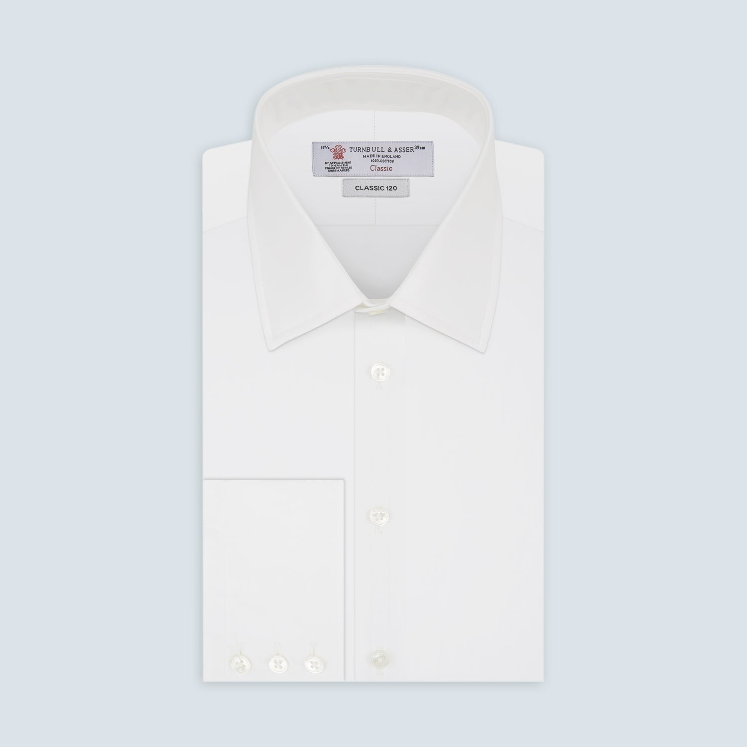 Two-Fold 120 White Shirt with T&A Collar and 3-Button Cuffs - 16.5 from Turnbull & Asser
