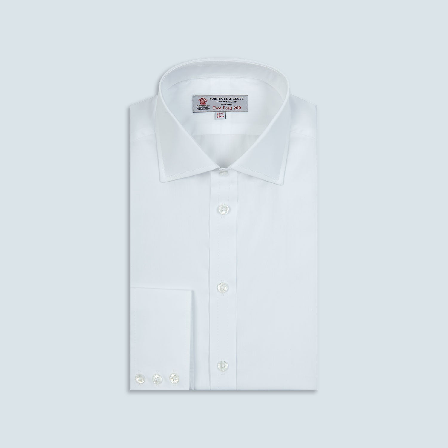 Two-Fold 200 White Cotton Shirt with Regent Collar and 3-Button Cuffs - 15.5 from Turnbull & Asser