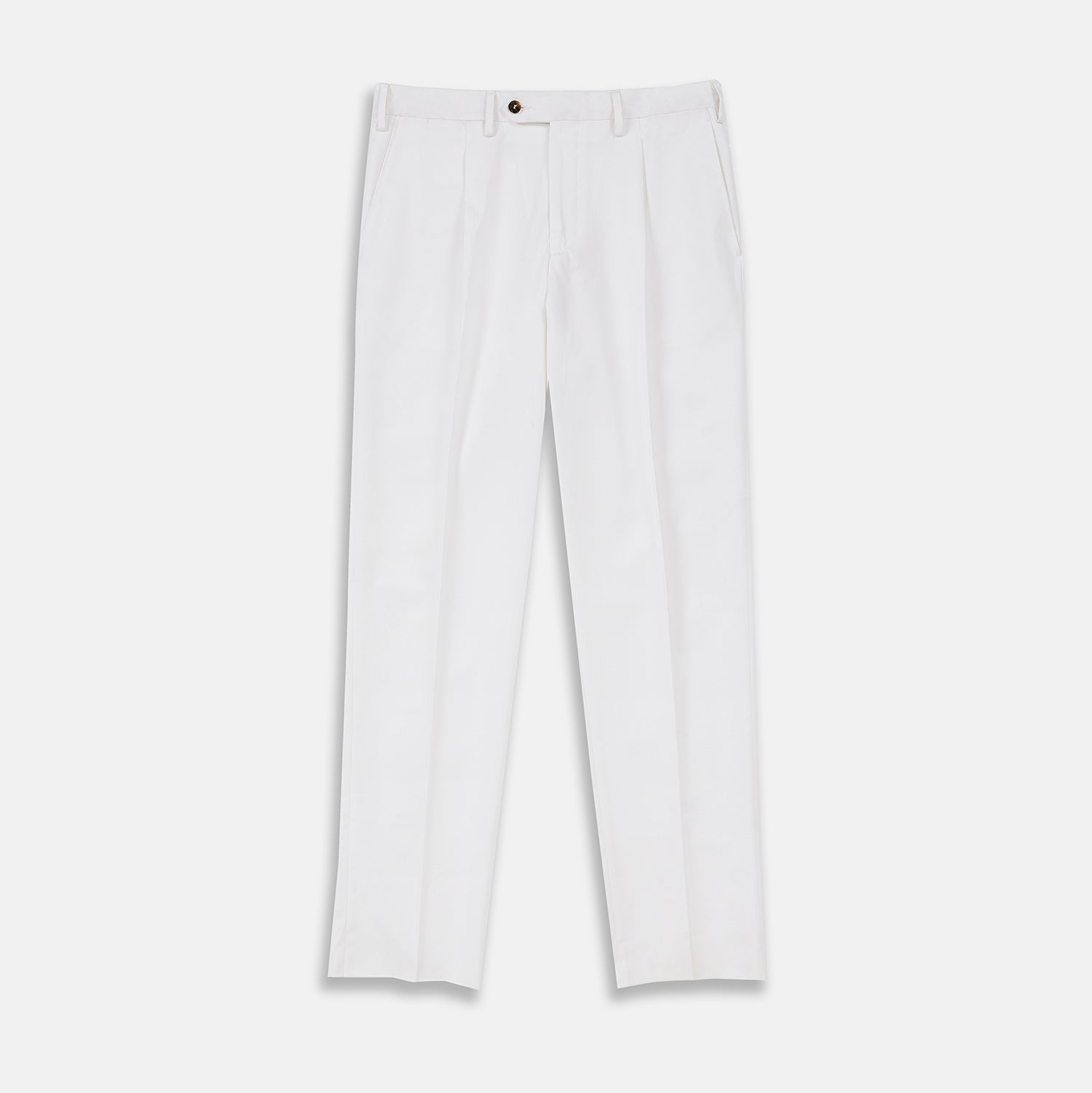 White Cotton Pleated Trousers - 38 from Turnbull & Asser