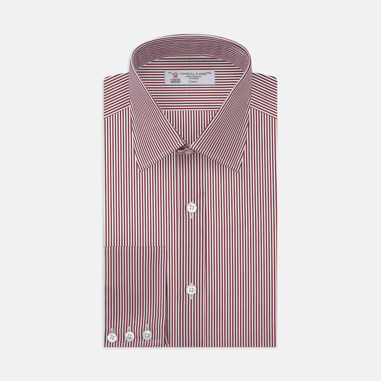 White and Burgundy Stripe Cotton Shirt with T&A Collar and 3-Button Cuffs - 18.5 from Turnbull & Asser