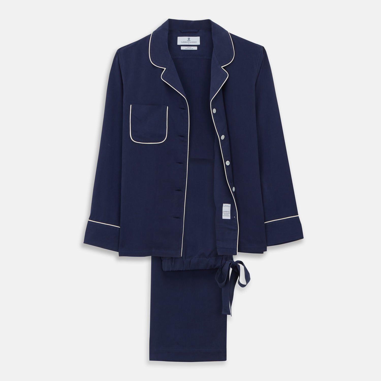 Women's Harriet Navy Silk Pyjama Set - L from Turnbull & Asser