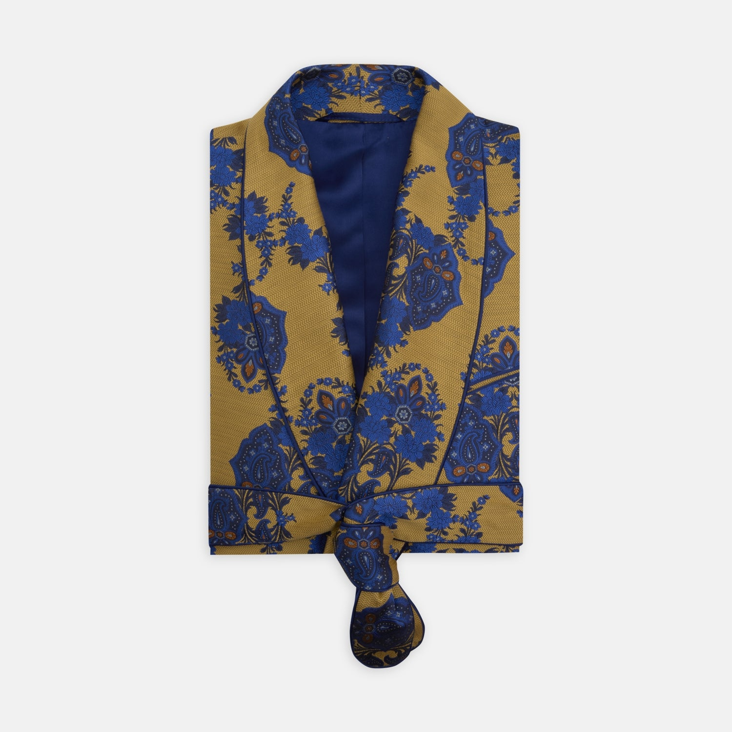 Yellow and Blue Floral Herringbone Silk Gown - M from Turnbull & Asser