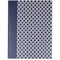 Casebound Hardcover Notebook, 10 1/4 x 7 5/8, Dark Blue with Hexagon Pattern from Universal