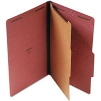 Classification Folders Legal Size 4 Section, 1 Divider, Red Pressboard, Top Tab, 10/Box from Universal
